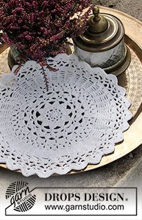 Free knitting patterns and crochet patterns by DROPS Design One Skein Crochet, Crochet Doily Rug, Crochet Doily Patterns, Crochet Diagram, Crochet Hook Sizes, Crochet Home, Drops Design, Tatting Patterns Free, Beginner Knitting Patterns