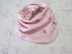 Bandanna Bib, Pink Fawn in the Woods, Pink Baby Deer, Starlight, Flannel Deer Bibdanna, Nature Inspired, Baby Girl Gift, Hannahs Homestead2