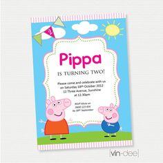 Instant download peppa pig invitation card editable pdf diy peppa pig birthday invitation diy printable stopboris Image collections