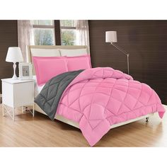 Pink Grey, Pink Purple, Gray, Black And Grey, Diys, Bed In A Bag, King Pillows, Queen Comforter Sets, Bed Sizes