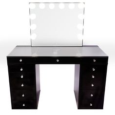 SlayStation® Plus Tabletop + Vanity Mirror + 5 Drawer Units Bundle (Pre-order Bright White Now. Expected ship date: June - Impressions Vanity Co. Black Vanity Table, Black Makeup Vanity, Tabletop Vanity Mirror, Mirror Drawers, Makeup Table Vanity, Vanity Room, Vanity Ideas, Makeup Tables, Table Mirror