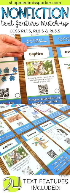 Nonfiction text features match up sort for the first grade, 2nd grade, or 3rd grade classroom. Meet the Common Core for informational text with this QR sort. Perfect for assessment, literacy centers, and small group instruction!