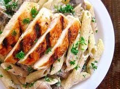 Grilled Chicken Over Creamy Mushroom Pasta