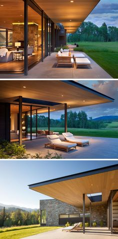 This modern house has sliding glass walls that open the living room to the outdoors, and the wood ceiling featured inside, continues through to the exterior of the house. Living Room Decor On A Budget, Living Room Remodel, Wyoming, Wood Ceilings, Design Hotel, House In The Woods, Rural House, Modern House Design, Glass House Design
