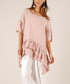This Pink Ruffle Linen Sidetail Tunic by LIN nature is perfect! #zulilyfinds