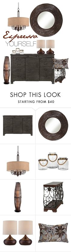 Expresso Yourself by lampsplus on Polyvore featuring interior, interiors, interior design, home, home decor, interior decorating, Abington, Kenroy Home and Home