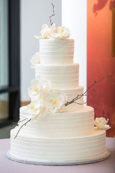 R: exact cake texture.  Maybe teal or gold ribbons wrapped on the bottom of each layer.  Possibly white flowers on it.