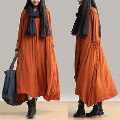 linen dress caftan kaftan long sleeve dress loose dress plus size dress maternity dress casual dress Personality Simple Dress N-394