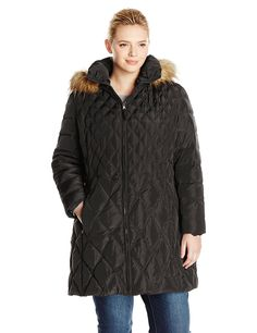 Jessica Simpson Women's Plus-Size Mid-Length Diamond-Quilted Down Coat *** Hurry! Check out this great product : Plus size coats