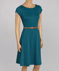 Teal Texture Belted Cap-Sleeve Dress