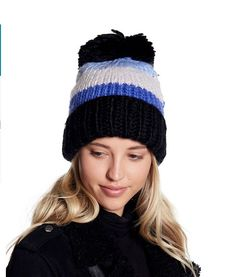 87f9c4645f3 A tiny gilt spade charm puts the polish on a stylishly color-blocked beanie  hand-knit from a soft acrylic-and-wool blend and topped with a big