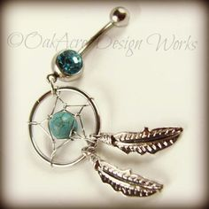 Handcrafted Dream Catcher navel piercing! Made of safe, surgical steel, silver plated charms, and quality beading elements, this unique piercing is perfect for any age and style!