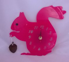 Handmade laser cut acrylic pink squirrel clock - Designed and created in Pembrokeshire, South West Wales