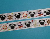 """1, 5, or 10 Yards 7/8"""" Disney Cruise Nautical Mickey Grosgrain Ribbon -  Exclusive DCL Design! Limited! - pinned by pin4etsy.com"""