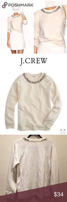 """J.Crew Necklace Sweater J.Crew necklace sweater. Gently used. Has some signs of pulling under the armpit as shown in pic 4.  Measures from pit to pit 18""""  24"""" front length  25"""" back length   87% cotton/ 13% poly J. Crew Sweaters"""
