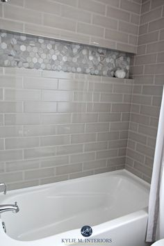 (The cove for guest bath remodel) Bathroom with bathtub and gray subway tile shower surround with niche or alcove in hexagon marble tile, greige accent tile. Kylie M Interiors design Hall Bathroom, Upstairs Bathrooms, Bathroom Renos, Bathroom Renovations, Bathroom Interior, Modern Bathroom, Bathroom Ideas, Design Bathroom, Shower Ideas