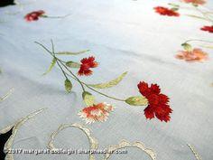 Society Silk carnations. Lovely thread painting in silk.