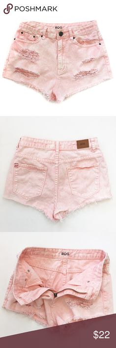 "Urban Outfitters High Waist Distressed Denim BDG High Rise ""Dree"" Cheeky shorts. Destroyed light pink denim cutoff shorts. 2"" inseam. Size 26W. Great condition! Urban Outfitters Shorts Jean Shorts"