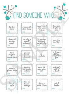 This wedding game is designed as an icebreaker for guests. To visit a homepage - https://www.etsy.com/listing/384432332/wedding-game-find-someone-who-wedding?ref=shop_home_active_1
