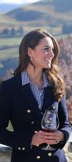 Kate Middleton wearing Gap white gingham button down shirt, Zara blue blazer, Kiki McDonough Earrings.