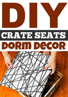 Dorm life is awesome but there seem to be two main problems across the board. A lack of seating and a lack of storage. You're in luck because in this video & post we are going to solve both of those problems for you by showing you how to make these DIY Crate Seats. They are a great way to add dorm organization and make great dorm decor too. #diy #crafts #teencrafts #projects #diycrafts #diyprojects #fundiys #funprojects #diyideas #craftprojects #diyprojectidea #teencraftidea Diy Projects For Teens, Diy For Teens, Crafts For Teens, Easy Diy Projects, Craft Projects, Craft Ideas, Diy Dorm Decor, Dorm Decorations, Teenage Room Decor