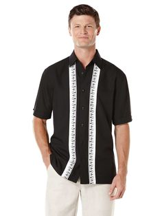 #FashionVault #perry ellis #Men #Tops - Check this : Cubavera Short Sleeve Front Contrast Panels With Embroidery for $32.99 USD