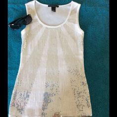 Sequined Tank.   SALE! Sequined Tank. White tank with silver and white sequins. Dress it up or down. NWOT Tops Tank Tops