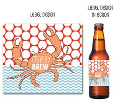 beer, beer labels, crabby beer, crab feast, drink wraps, custom beer labels, craft beer