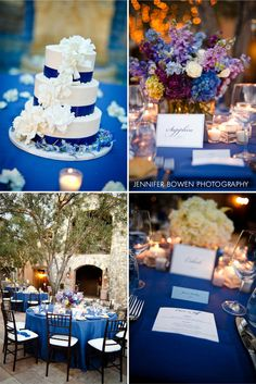blue, purple and white wedding centerpieces and decor