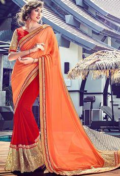 #Orange,Red #Georgette Half N Half #Saree #nikvik  #usa #designer #australia #canada #freeshipping #sari