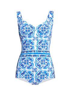 Majolica-print swimsuit | Dolce & Gabbana | MATCHESFASHION.COM