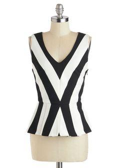 Contemporary Cloister Top - White, Daytime Party, Peplum, Sleeveless, Mid-length, Black, Chevron, Cotton, V Neck