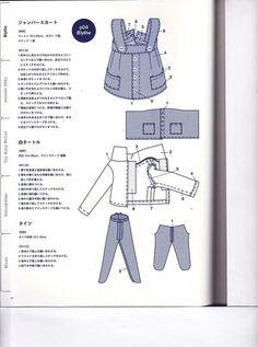 Выкройки из японских журналов. Часть 22 - для куклы Блайз. Часть 2 из 5 / Куклы Блайз, Blythe dolls / Бэйбики. Куклы фото. Одежда для кукол