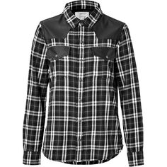 Current/Elliott Cotton Plaid and Leather Shirt ($155) ❤ liked on Polyvore featuring tops, shirts, flannel, long sleeved, plaid shirts, black, spread collar shirt, long sleeve cotton tops, loose tops and long-sleeve shirt