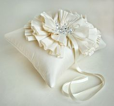 White or Ivory Silk Ruffle Ring Bearer Pillow by EmiciBridal, $140.00