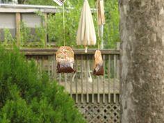 Making a pair of tea bag earrings!