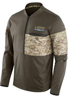 53f744ad5b8 Nike Detroit Lions Mens Brown Hybrid Pullover Jackets - Image 1 Jacket Men