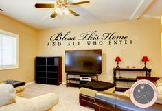 Wall Decal for the Home  Bless this Home  by FourPeasinaPodVinyl, $15.00 wall decals, vinyl wall decals, living room décor, vinyl lettering