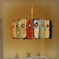 Round Door Plate Pendant Light that I could see made by my mom, @Paula Buhman