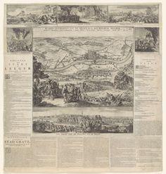 Romeyn de Hooghe | Beleg en verovering van Grave door Willem III, 1674, Romeyn de Hooghe, 1674 | Beleg en verovering van Grave door Willem III, 25 juli tot 29 oktober 1674. Hoofdvoorstelling met een gezicht op de belegerde stad Grave aan de rivier de Maas en de posities van de belegerende troepen. Op de voorgrond Willem III met zijn staf. Uitvoerige voorstelling en beschrijving van deze gebeurtenissen in 1 grote voorstelling en 6 kleinere voorstellingen, 2 legenda's en een dagverhaal.