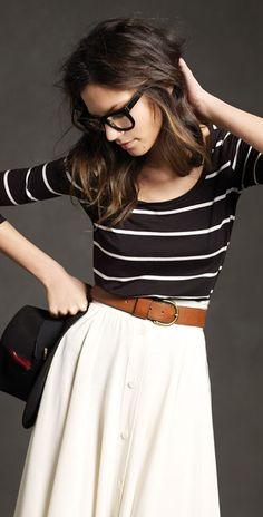Stripes n skirt.