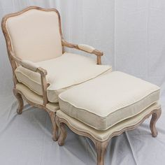 French Provincial Style Louis XV ARM Chair Sofa With Ottoman Footstool Solid OAK in Melbourne, VIC | eBay
