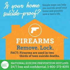 It's If you have firearms in your home, consider removing them or locking them up. If you're worried that someone you know is feeling vulnerable or call Teen Life, Injury Prevention, Public Health, Vulnerability, Firearms, Alabama, No Worries, Death, How To Remove