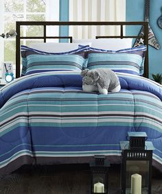 Blue Stripe Comforter Set