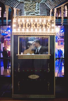 ticket booth portrait for a circus wedding, photo by Maria Mack http://ruffledblog.com/pennsylvania-circus-inspired-wedding #photobooth #wedding