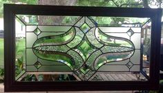 STAINED GLASS PANEL WINDOW ART TIFFANY STLYE HAND CRAFTED FRAMED 27.5 x 15.5