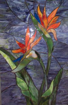 Bird of Paradise Stained glass floral window panel!
