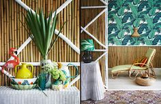 Bamboo and bold prints are right on the money when it comes to tropical interiors and if you can fins a model of a flamingo then all the better....