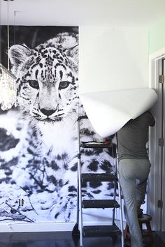 engineer prints as mural. Print Wallpaper, Photo Wallpaper, Snow Leopard Wallpaper, Photowall Ideas, Engineer Prints, Deco Originale, Photos Voyages, Home And Deco, Diy Party Decorations