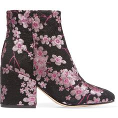 Sam Edelman Taye floral-brocade ankle boots ($175) ❤ liked on Polyvore featuring shoes, boots, ankle booties, pink, bootie boots, pink boots, sam edelman bootie, long boots and pink booties